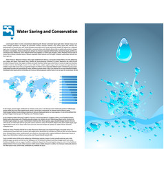 water saving and conservation template vector image vector image
