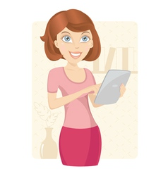 Business woman with tablet computer vector image vector image