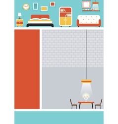 Furniture Flat Design for Webpage Poster vector image