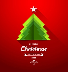 Merry Christmas origami paper green tree overlap vector image vector image