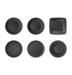 realistic black food empty plate icon set vector image