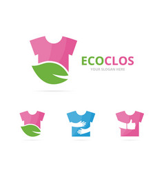set of cloth logo combination shirt and eco vector image vector image