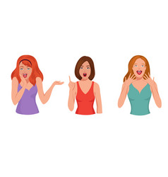 surprised pretty woman astonished laughing girl vector image vector image