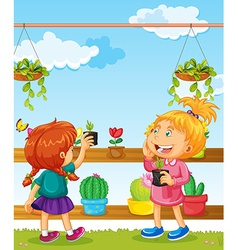 Two girls and many flower pots vector