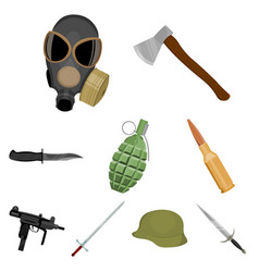 weapon set icons in cartoon style big collection vector image