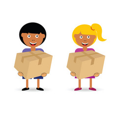 children holding paper box vector image vector image
