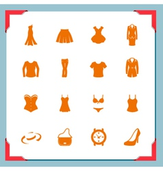 Clothing icons women in a frame series vector image