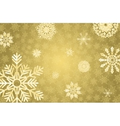 Golden winter bakground with crystallic snowflakes vector image vector image