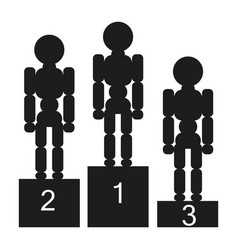 three people stand on the podium sign vector image vector image
