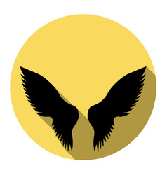 wings sign flat black icon vector image
