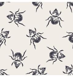 Beetles vintage seamless pattern vector image