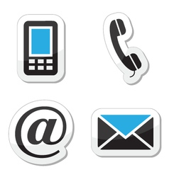 Contact web and internet icons set vector image vector image