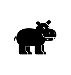 hippo cute icon black sign vector image