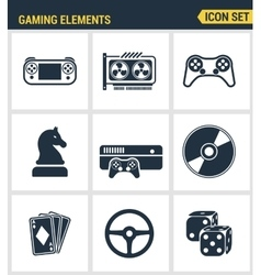 Icons set premium quality of classic game objects vector image vector image