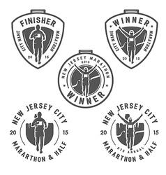 Set of vintage marathon medals and design elements vector image vector image
