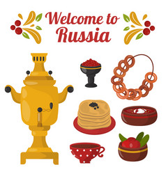 traditional russian cuisine culture dish course vector image vector image