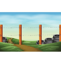 A barbwire fence vector