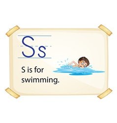 A letter s for swimming vector