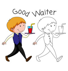 a waiter character on white backgroubd vector image