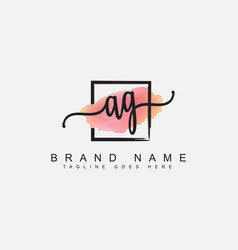 Ag initial signature logo - watercolor background vector