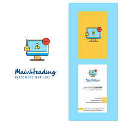 avatar on monitor creative logo and business card vector image