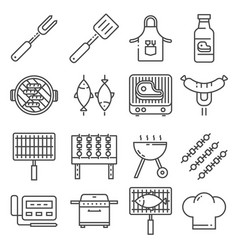 barbecue bbq line icons vector image