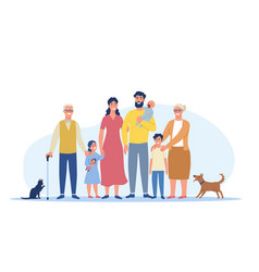 Big happy family standing together vector
