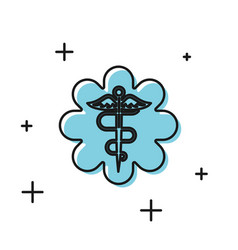 Black emergency star - medical symbol caduceus vector
