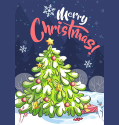 bright cartoon marry christmas vector image
