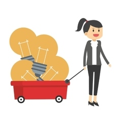 Business woman pulling wagon with lightbulbs icon vector