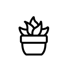 Cactus icon isolated contour symbol vector