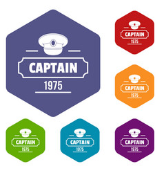 Captain icons hexahedron vector