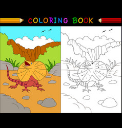 cartoon frilled lizard coloring book australian a vector image