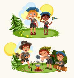 Cartoon happy children having fun together vector
