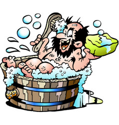 cartoon of an old dirty man who wash him selv in vector image