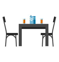 chairs and table set with juice glasses for two vector image