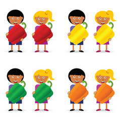 Children holding papper vector