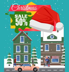 Christmas sale -50 off poster vector