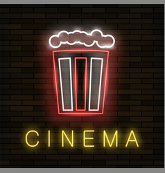 cinema light neon sign on brick background vector image