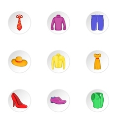 Clothing icons set cartoon style vector image