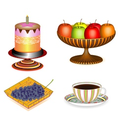 Coffee with cake and fruit 3D vector