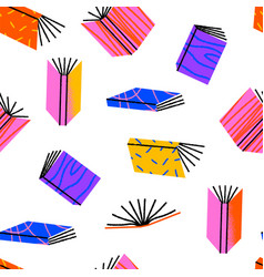 colorful open book retro cartoon seamless pattern vector image