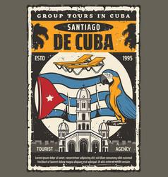 Cuba santiago city group tours and landmark travel vector