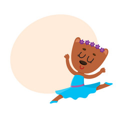 Cute bear character ballet dancer in pointed vector