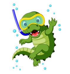 cute crocodile diving cartoon vector image