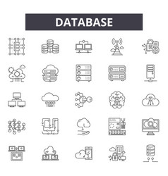 database line icons signs set outline vector image