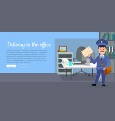 delivery to the office cartoon web banner vector image