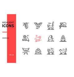 different mammals - modern line design style icons vector image