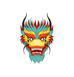 Dragon face colorful symbol of chinese vector