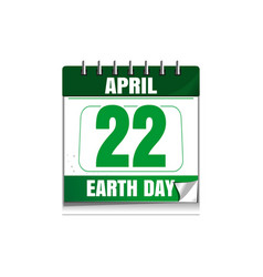 Earth day wall calendar 22 april vector